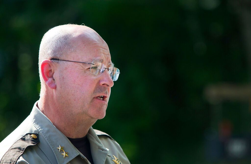 Sheriff Dale Lancaster addresses the media during a press conference in 2017. Credit: Ashley L. Conti / BDN.