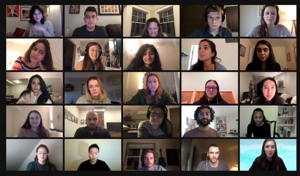 Pulitzer Center Reporting Fellow Alums gather for a Zoom reunion. Screenshot by Libby Moeller. United States, 2021.
