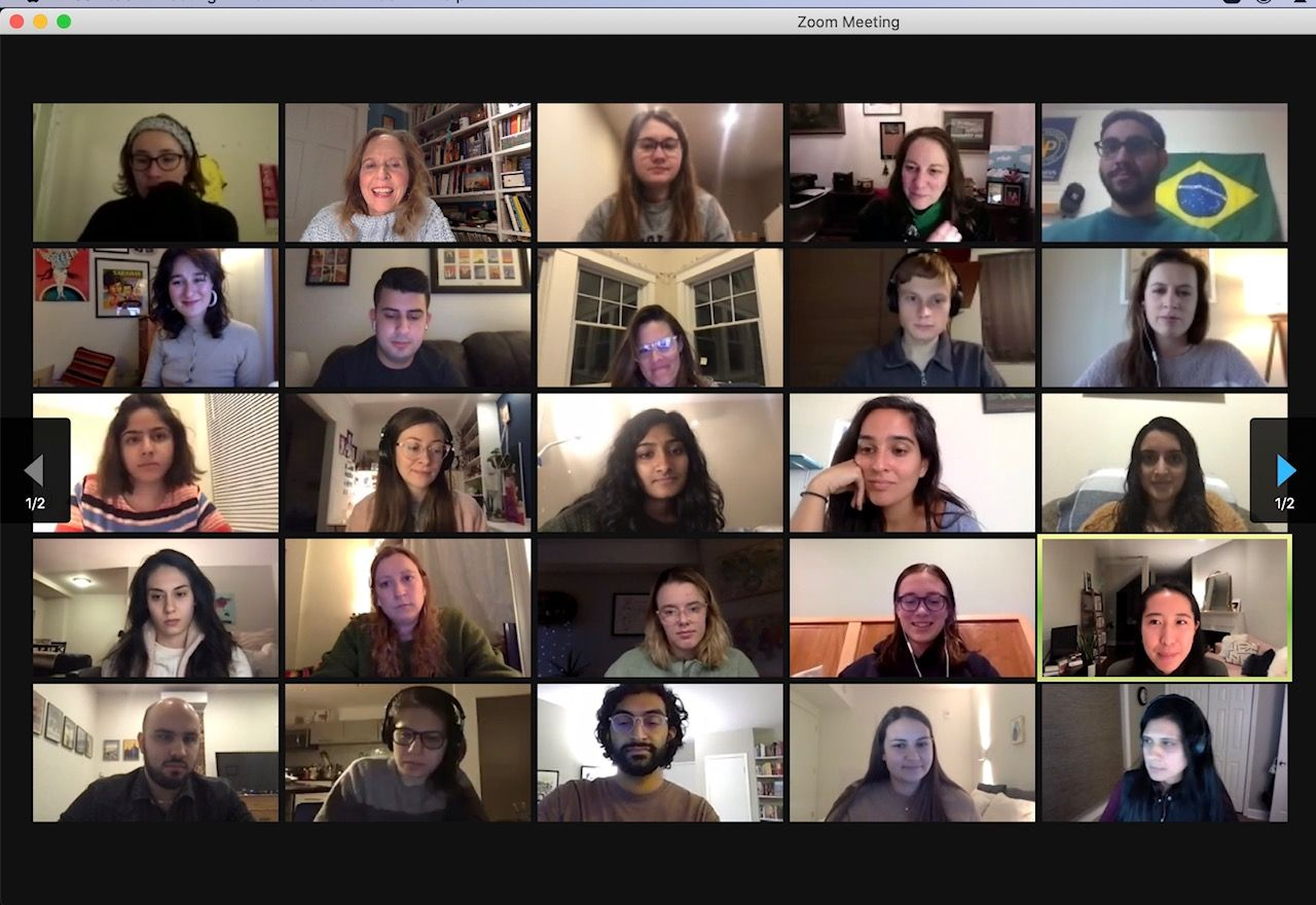 Pulitzer Center Reporting Fellow Alums gather for a Zoom reunion.  Screenshot by Kem Knapp Sawyer. United States, 2021.
