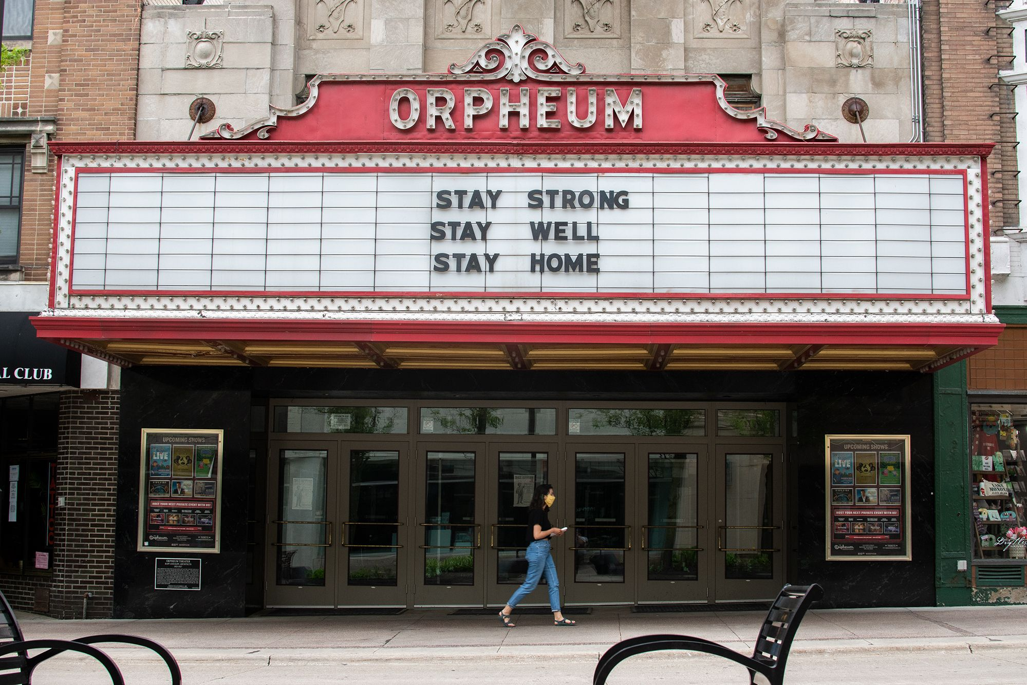 Local businesses in Madison, Wisconsin prepared to reopen on May 26, 2020. The Orpheum Theater on State. Image by Lawrence Andrea. United States, 2020.