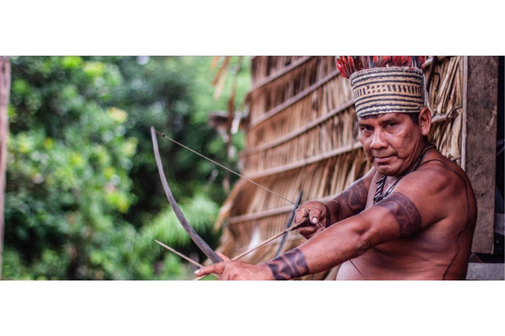 Bernardino, the Campo Branco village tuxaua (leader). He has so far resisted threats from outsiders who have demanded he leave the Sateré's ancestral lands on the Mariaquã River. Image by Matheus Manfredini. Brazil, 2019.