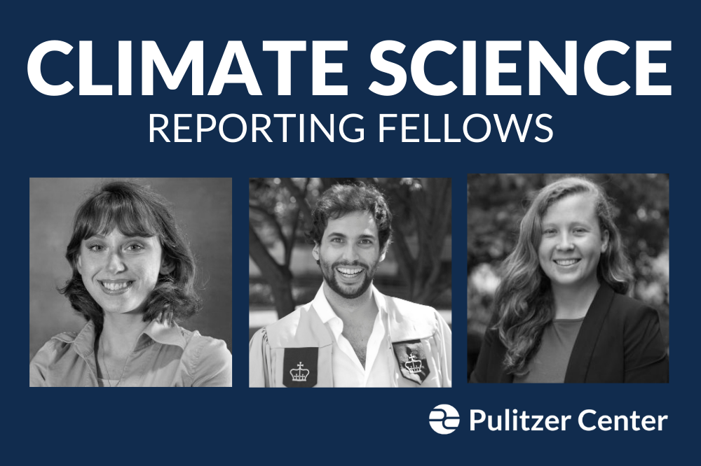 Emery Eisner, an undergraduate at Elon University (left), Agostino Petroni, a graduate of Columbia Graduate School of Journalism (center), and Emma Johnson, a graduate of Yale University's School of the Environment (right), are the winners of the Pulitzer Center's 2021 Climate Science Reporting Fellowships. Graphic by Naomi Andu. United States, 2020.
