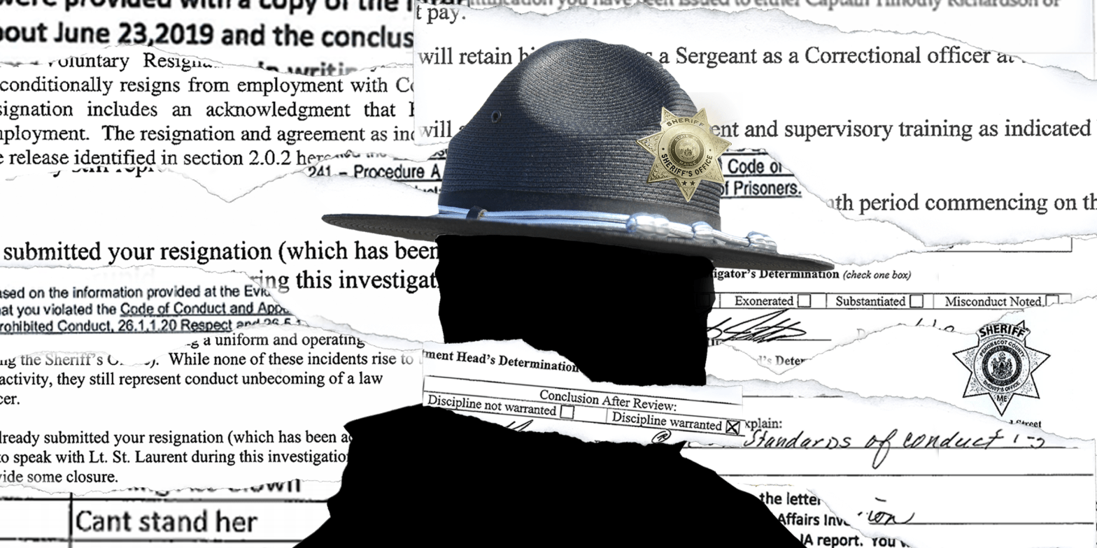 Maine is one of only a few states where law enforcement discipline records are public. But that doesn't always result in transparency. Illustration by Natalie Williams /Bangor Daily News.