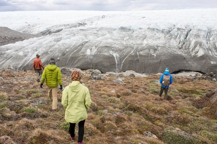 The science team went to the edge of the ice sheet the day before flying out to the field site. Image by Amy Martin. Greenland, 2018.