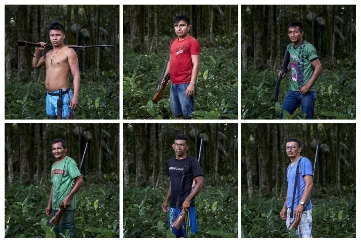 Members of the vigilante group that protects indigenous Maró territory. Brazil, 2019. Image by Pablo Albarenga.