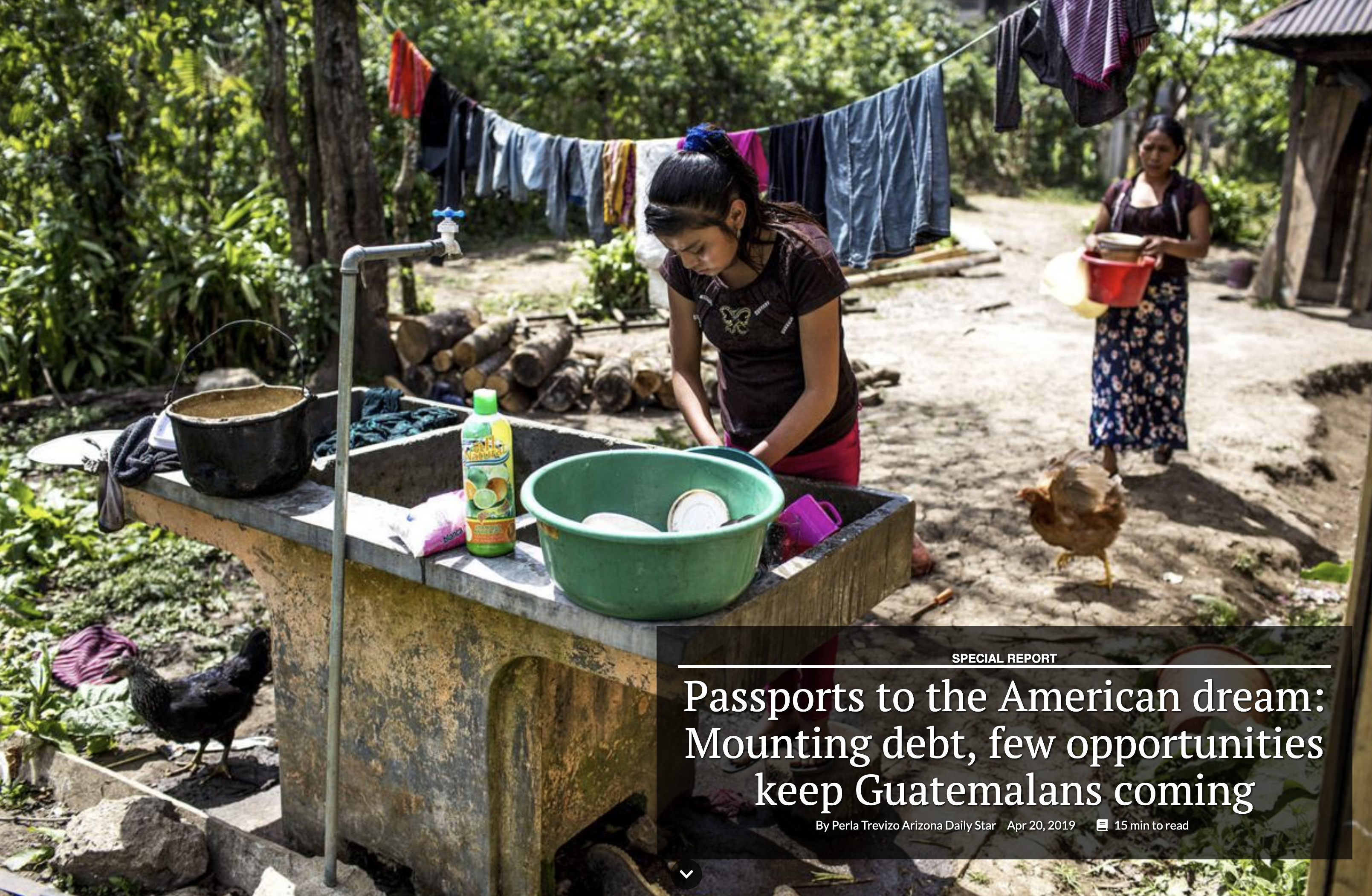 Candelaria López, 15, washes dishes in her front yard in Bulej. Image by Simone Dalmasso/Arizona Daily Star. Guatemala, 2019.