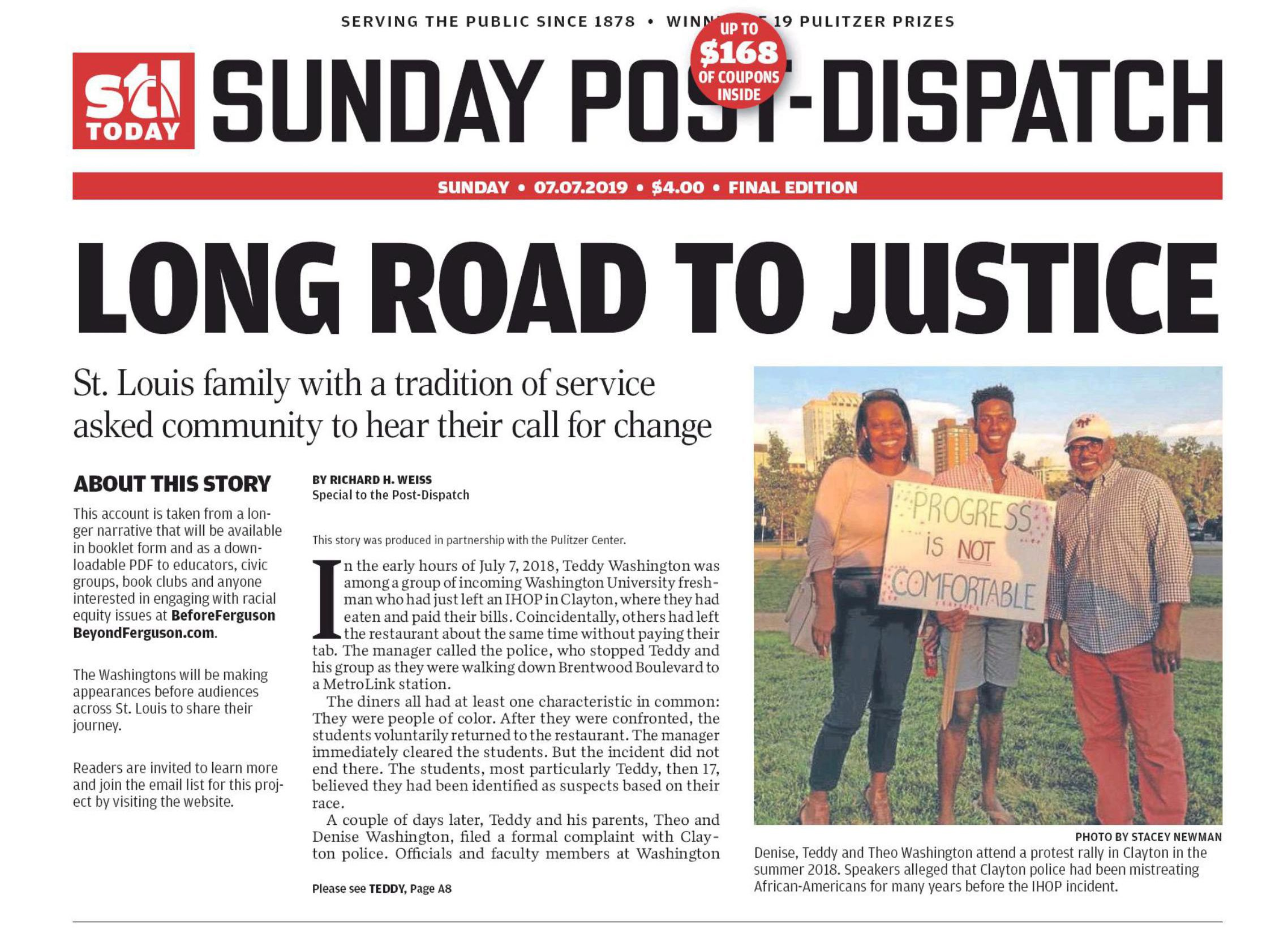 Before Ferguson Beyond Ferguson was featured on the front page of The St. Louis Post-Dispatch. Image courtesy the St. Louis Post-Dispatch. United States, 2019.