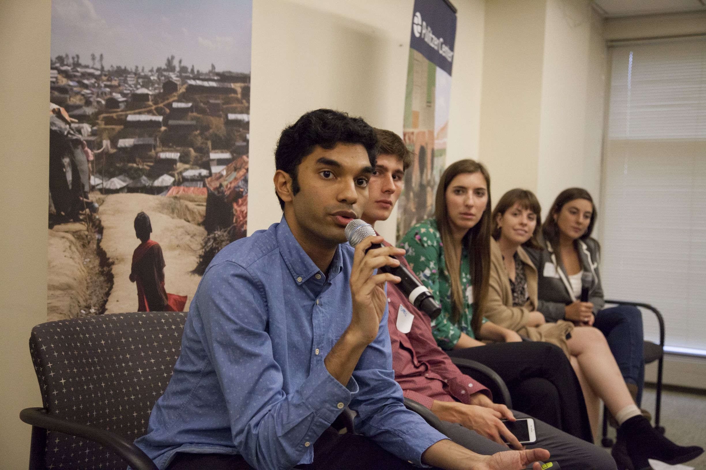 Rohan Naik (Yale University), Tomas Woodall Posada (Forsyth Technical Community College), Kiley Price (Wake Forest University), Meg Vatterot (University of Missouri), and Jacqueline Flynn (Texas Christian University) present on climate change and the environment. Image by Jin Ding. United States, 2018.