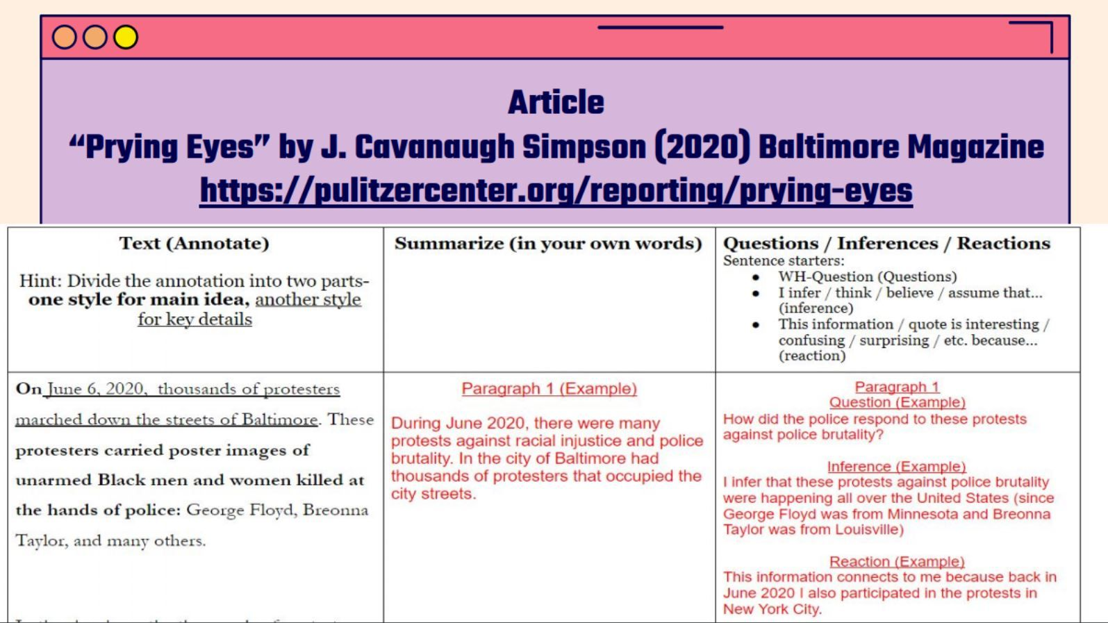 """Teacher example of an article annotation assignment from the unit """"Investigating Police Budgets"""" by Vincent Pham. United States, 2020."""