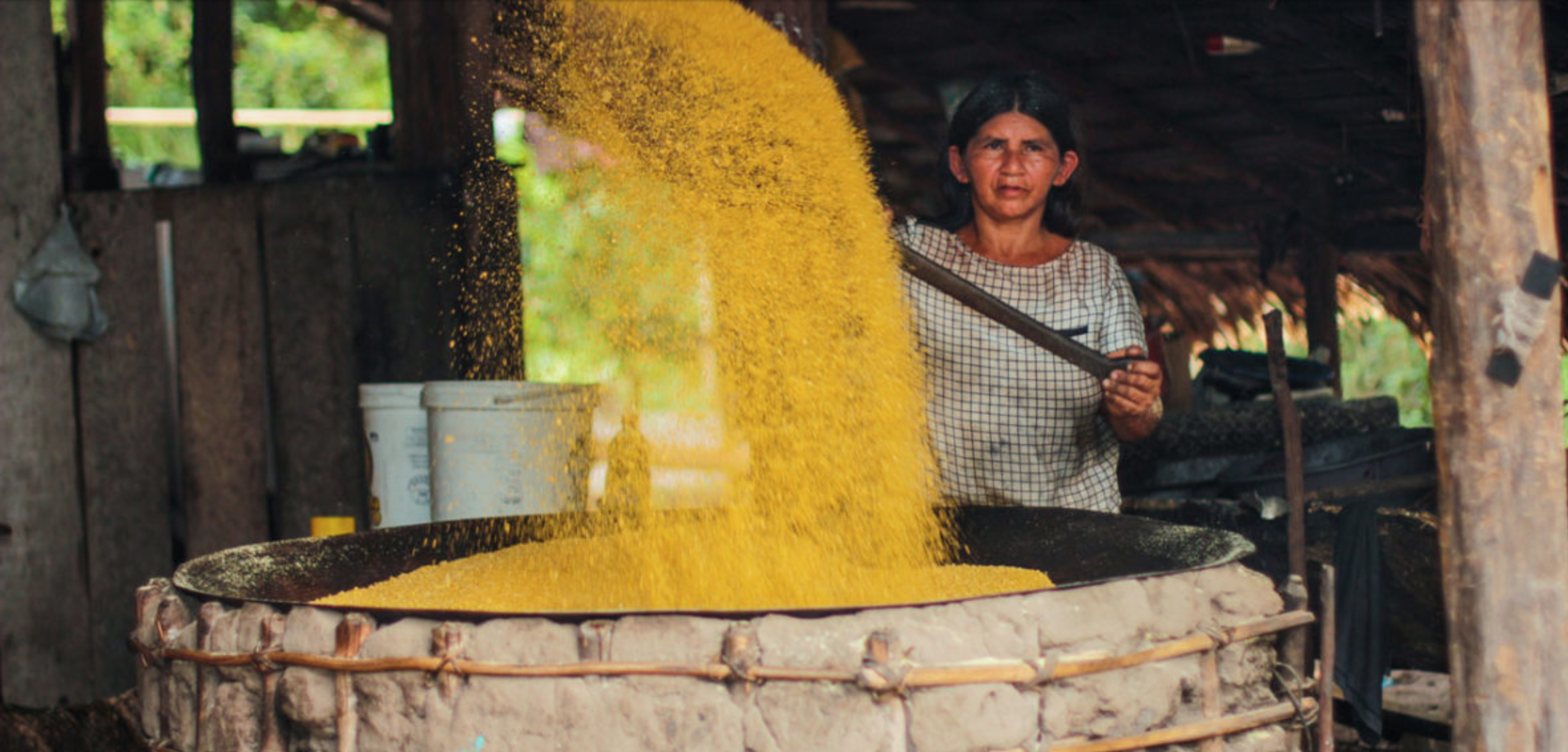 Sonia making farinha in a Sateré-Mawé village in the Brazilian Amazon. The Sateré practice a largely traditional lifestyle, relying on the forest for survival. Image by Matheus Manfredini. Brazil, 2019.