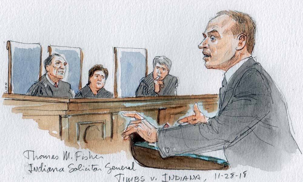 The Solicitor General of Indiana, Thomas Fisher, argues before the United States Supreme Court in the case of Timbs v. Indiana.  Image by Andrew Hamm/SCOTUSblog. United States, 2018.